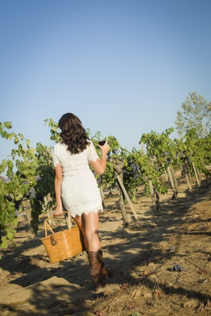 Young Mixed Race Woman Enjoying A Walk and a Glass of Wine in the Vineyard. Banque d'images