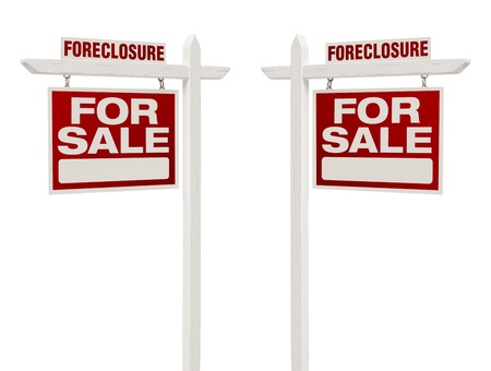 foreclosure: Pair of Left and Right Facing Foreclosure For Sale Real Estate Signs With Clipping Path Isolated on White.
