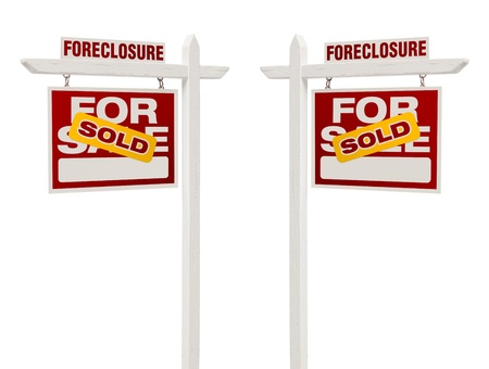 bank owned: Pair of Left and Right Facing Sold Foreclosure For Sale Real Estate Signs With Clipping Path Isolated on White.