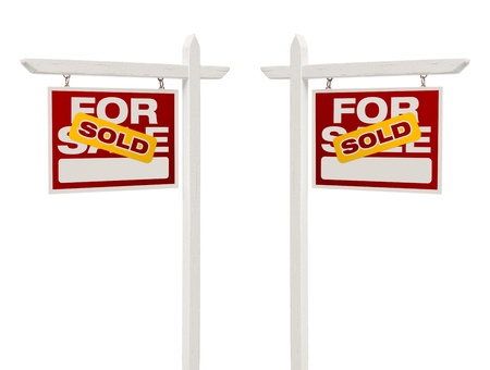facing right: Pair of Left and Right Facing Sold For Sale Real Estate Signs With Clipping Path Isolated on White.