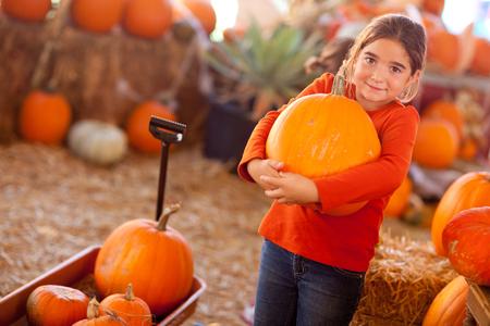 pumpkin patch: Cute Girl Choosing A Pumpkin at A Pumpkin Patch One Fall Day. Stock Photo