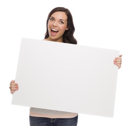holding blank sign: Beautiful Mixed Race Female Holding Blank Sign Isolated  Stock Photo