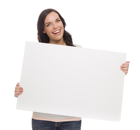 textspace: Beautiful Mixed Race Female Holding Blank Sign