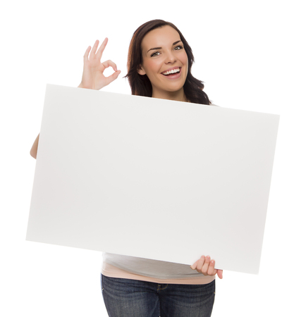 ok sign: Beautiful Mixed Race Female Holding Blank Sign