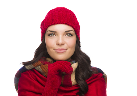 Happy Mixed Race Woman Wearing Winter Hat and Gloves Isolated on White Background photo