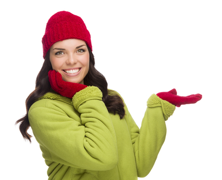 red chilly: Beautiful Mixed Race Woman Wearing Winter Hat and Gloves