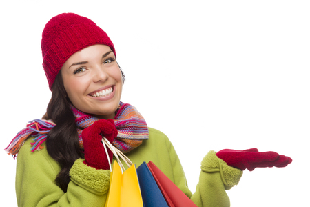 Beautiful Mixed Race Woman Wearing Winter Hat and Gloves  photo
