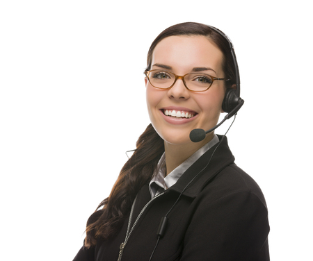 sales rep: Helpful Mixed Race Receptionist Wearing Phone Head-set Isolated on White . Stock Photo