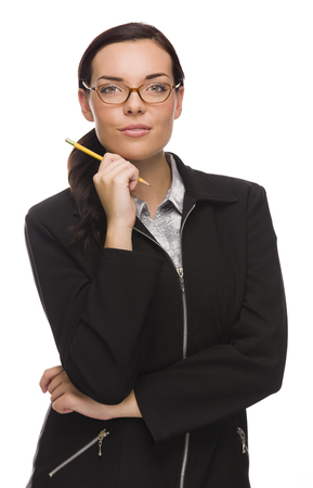 Confident Mixed Race Businesswoman Holding a Pencil Isolated on a White Background.