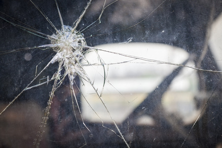 crack: Abstract Cracked Window Glass on Antique Truck with Selective Focus.  Stock Photo