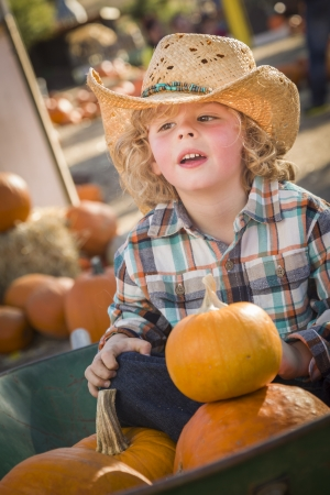 wheel barrel: Adorable Little Boy Wearing Cowboy Hat at Pumpkin Patch Farm  Stock Photo