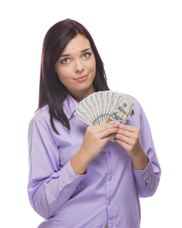 Excited Mixed Race Woman Holding the Newly Designed United States One Hundred Dollar Bills Isolated on a White Background. Stock Photo - 23311645