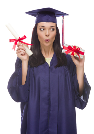 Happy Female Graduate with Diploma and Stack of Gift Wrapped Hundred Dollar Bills Isolated on a White Background. photo