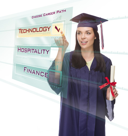 choose university: Attractive Young Mixed Race Female Graduate in Cap and Gown Choosing Technology Career Path Button on Futuristic Translucent Panel. Stock Photo