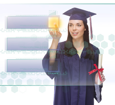 choose university: Young Female Graduate Pushing Blank Button on Translucent Panel - Ready For Your Own Copy.