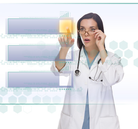 menu buttons: Young Doctor or Nurse Pushing Blank Button on Futuristic Translucent Panel - Ready For Your Own Copy. Stock Photo