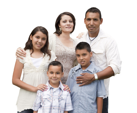 hispanics mexicans: Happy Attractive Hispanic Family Portrait Isolated on a White Background. Stock Photo