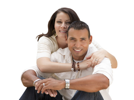 Happy Young Attractive Hispanic Couple Isolated on a White Background. photo