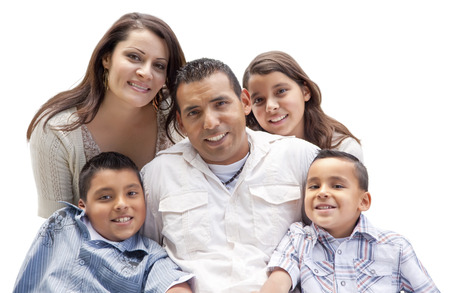 latino man: Happy Attractive Hispanic Family Portrait Isolated on a White Background. Stock Photo