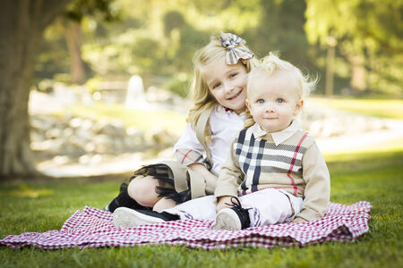 Sweet Little Girl Sitting with Her Baby Brother on a Picnic Blanket Outdoors at the Park.  photo