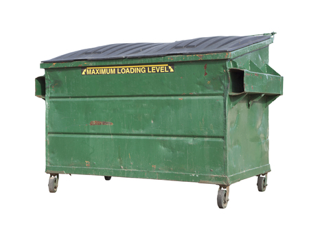 landfill site: Green Trash or Recycle Dumpster Isolated On A White Background with Clipping Path.