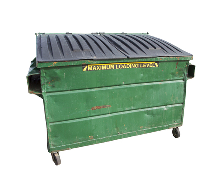 dumpster: Green Trash or Recycle Dumpster Isolated On A White Background with Clipping Path.