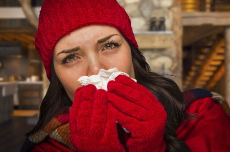 Miserable Sick Woman Inside Log Cabin Blowing Her Sore Nose With Tissue. Stock Photo - 24621650