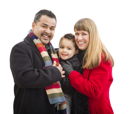 Happy Attractive Young Mixed Race Family Dressed in Winter Clothing Isolated on White. photo