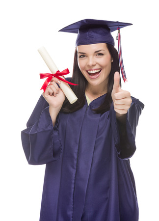 collegiate: Happy Graduating Mixed Race Female Wearing Cap and Gown with Her Diploma Isolated on White Background.