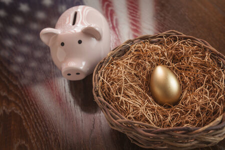 bank of america: Golden Egg in Nest and Piggy Bank with American Flag Reflection on Wooden Table. Stock Photo