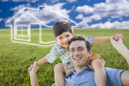dream home: Excited Mixed Race Father and Son Piggyback Over Grass Field, Sky and Ghosted House Icon