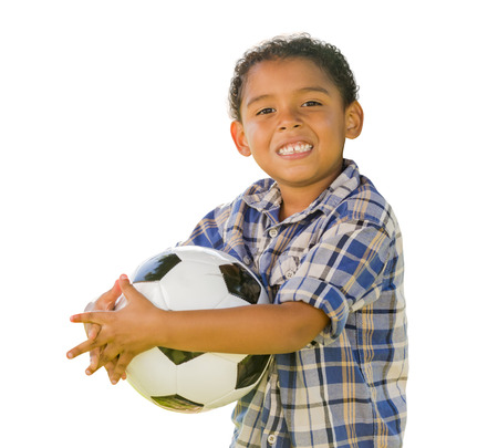 look latino: Mixed Race Boy Holding Soccer Ball Isolated on a White Background.