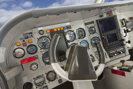Detailed Cockpit of a Cessna Airplane.