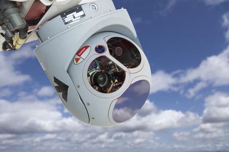 military aircraft: Closeup of a Drone Camera and Sensor Pod Module. Stock Photo