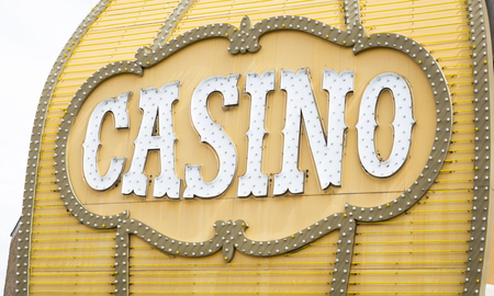 carson city: Antique Casino Sign with Lights on Building. Stock Photo