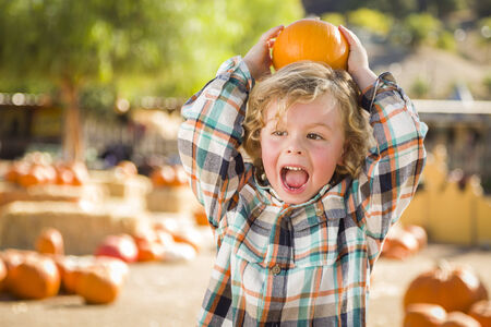 curls: Adorable Little Boy Sitting and Holding His Pumpkin in a Rustic Ranch Setting at the Pumpkin Patch.