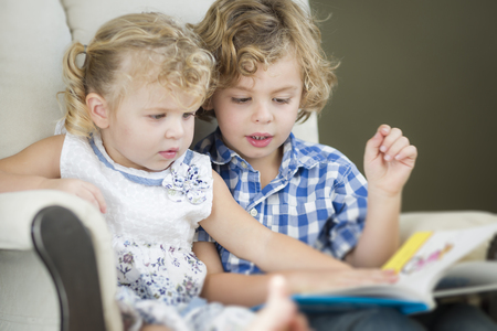 Cute Young Brother and Sister Reading a Book Together in a Chair. photo