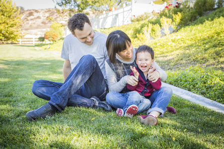 Happy Mixed Race Family Having Fun Outside on the Grass. photo