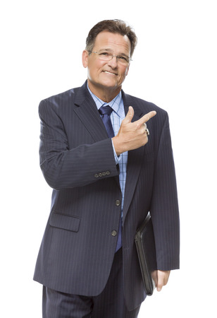 self assured: Handsome Businessman Pointing to the Side Isolated on a White Background.