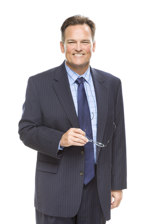 self assured: Handsome Businessman Smiling in Suit and Tie Isolated on a White Background.