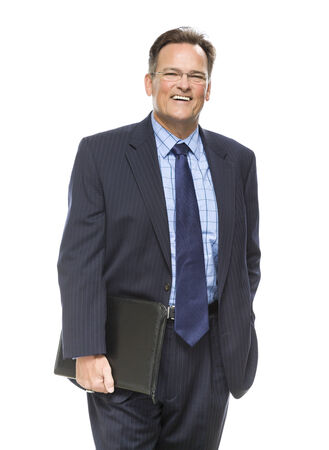 Handsome Businessman Smiling in Suit and Tie Isolated on a White Background.