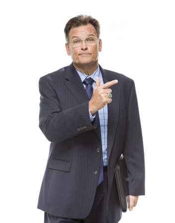 Handsome Businessman Pointing to the Side Isolated on a White Background.