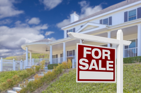 home finance: Home For Sale Real Estate Sign and Beautiful New House.