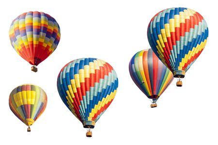 hot air ballon: A Colorful Set of Hot Air Balloons Isolated on a White Background. Stock Photo