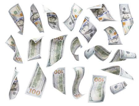 dinero volando: Conjunto de azar Falling o flotante $ 100 cuentas cada aisladas en blanco con No Overlap - construir su propio. Foto de archivo