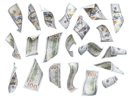 one hundred dollar bill: Set of Randomly Falling or Floating $100 Bills Each Isolated on White with No Overlap - Build Your Own. Stock Photo