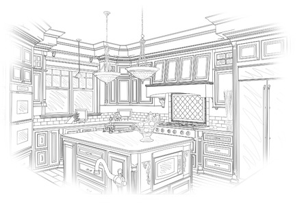 architectural: Beautiful Custom Kitchen Design Drawing in Black Isolated on White.