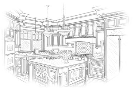 cocinas industriales: Hermosa Cocina personalizada Diseño Dibujo en Negro aislado en blanco.