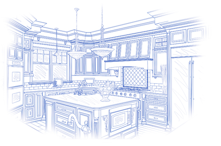 blue white kitchen: Beautiful Custom Kitchen Design Drawing in Blue Isolated on White.