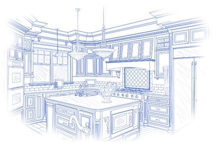 cocinas industriales: Hermosa cocina de diseño personalizado de dibujo en azul aislado en blanco.